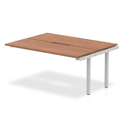 B2B Ext Kit Silver Frame Bench Desk 1400 Walnut