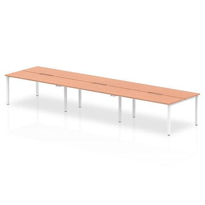 B2B White Frame Bench Desk 1400 Beech (6 Pod)