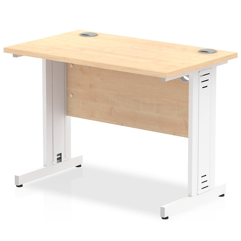 Impulse 1000/600 Rectangle White Cable Managed Leg Desk Maple