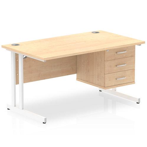 Impulse 1400 Rectangle White Cant Leg Desk Maple 1 x 3 Drawer Fixed Ped