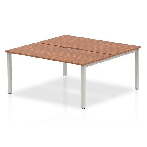 B2B Silver Frame Bench Desk 1600 Walnut (2 Pod)