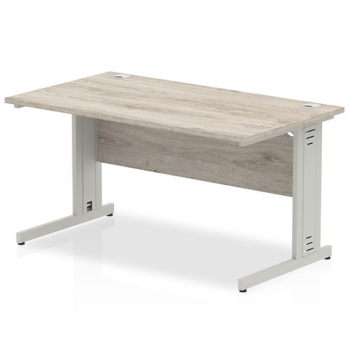 Impulse 1400/800 Rectangle Silver Cable Managed Leg Desk Grey Oak