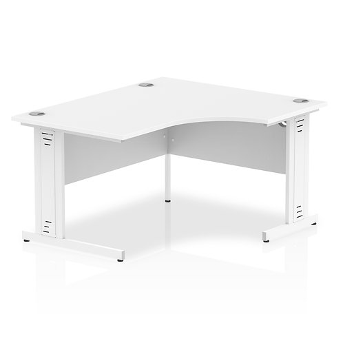 Impulse 1400 Right Hand White Crescent Cable Managed Leg Desk White