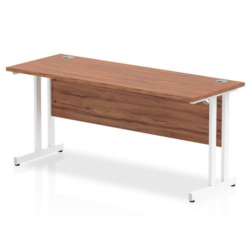 Impulse 1600/600 Rectangle White Cantilever Leg Desk Walnut