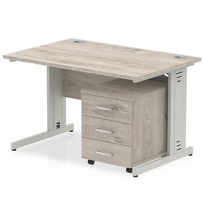 Impulse 1200 Straight Desk Grey Oak Cable Managed Leg Pedestal Bundle