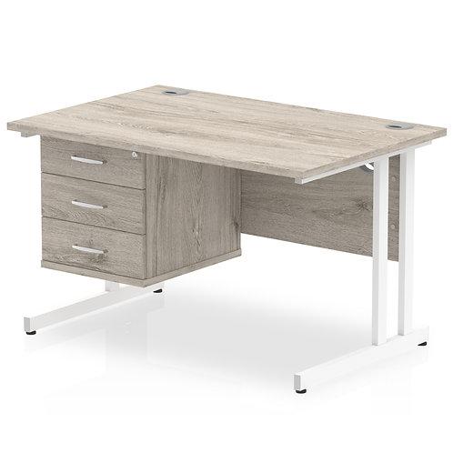 Impulse 1200 Rectangle White Cant Leg Desk Grey Oak 1 x 3 Drawer Fixed Ped