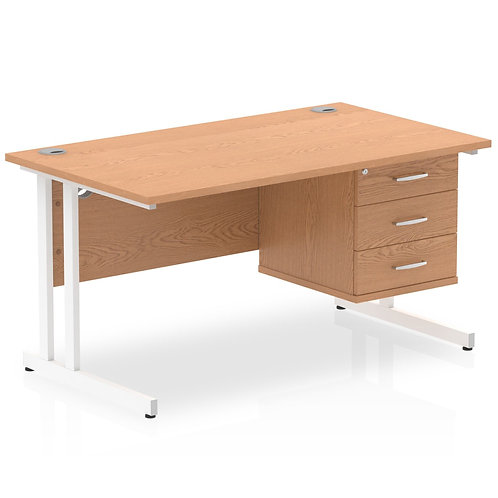 Impulse 1400 Rectangle White Cant Leg Desk Oak 1 x 3 Drawer Fixed Ped