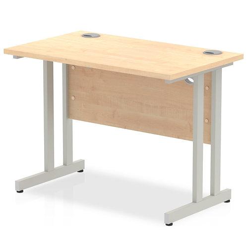Impulse 1000/600 Rectangle Silver Cantilever Leg Desk Maple
