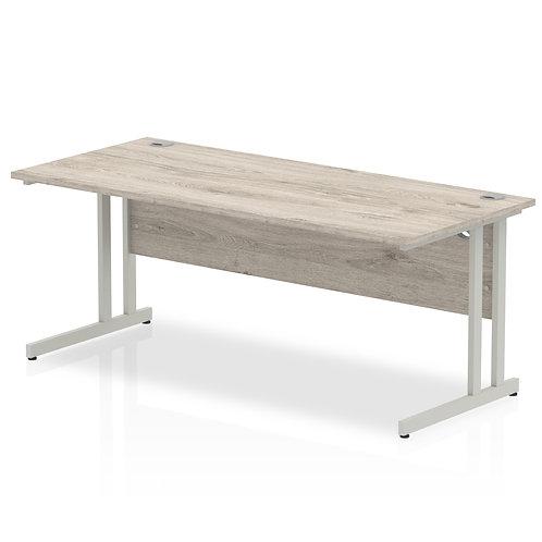 Impulse 1800/800 Rectangle Silver Cantilever Leg Desk Grey Oak