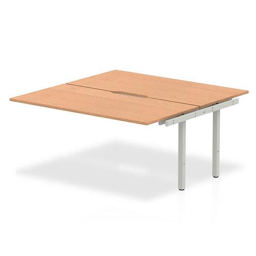 B2B Ext Kit Silver Frame Bench Desk 1600 Oak