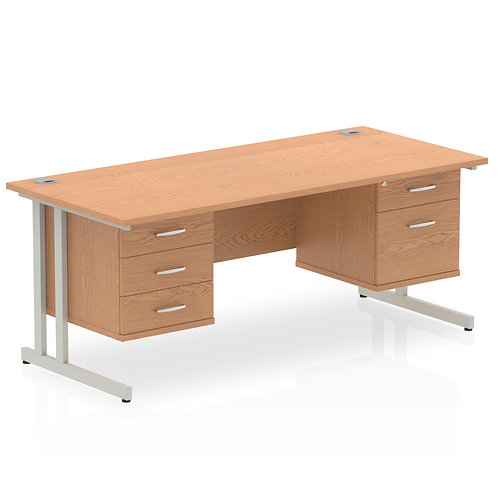 Impulse 1600 Rectangle Desk Oak 1 x 2 Drawer 1 x 3 Drawer Fixed Ped