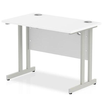 Impulse 1000/600 Rectangle Silver Cantilever Leg Desk White