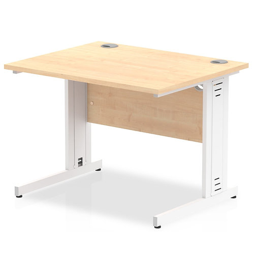 Impulse 1000/800 Rectangle White Cable Managed Leg Desk Maple