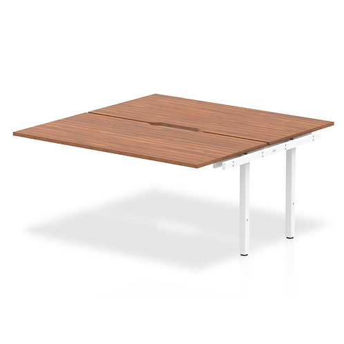 B2B Ext Kit White Frame Bench Desk 1600 Walnut