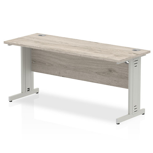 Impulse 1600/600 Rectangle Silver Cable Managed Leg Desk Grey Oak