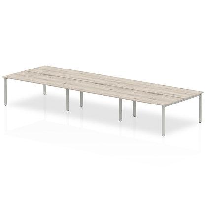 B2B Silver Frame Bench Desk 1400 Grey Oak (6 Pod)