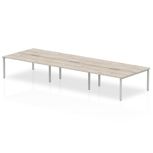 B2B Silver Frame Bench Desk 1400 Grey Oak (6 Pod)