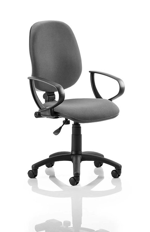 Eclipse Plus I Lever Task Operator Chair Charcoal With Loop Arms