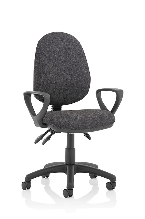Eclipse Plus III Lever Task Operator Chair Charcoal With Loop Arms