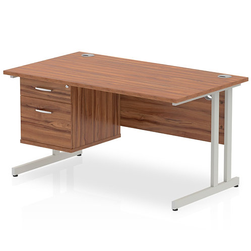 Impulse 1400 Rectangle Silver Cant Leg Desk Walnut 1 x 2 Drawer Fixed Ped