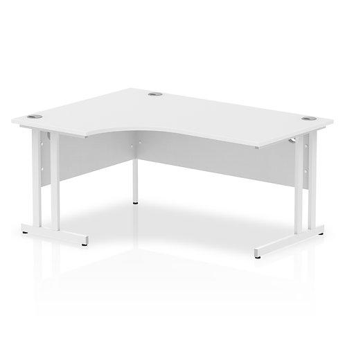 Impulse 1600 Left Hand White Crescent Cantilever Leg Desk White