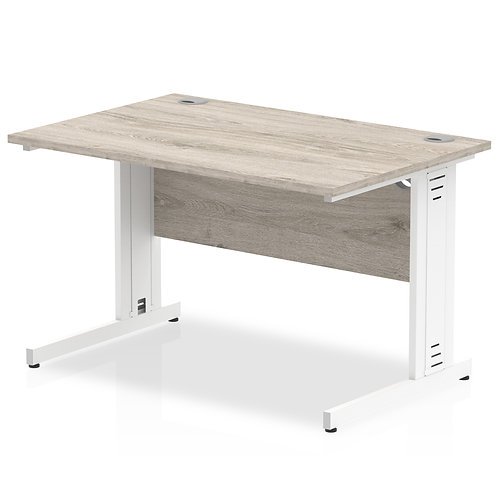 Impulse 1000/800 Rectangle White Cable Managed Leg Desk Grey Oak
