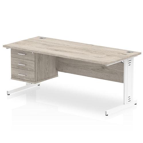 Impulse 1800 Rectangle Desk Grey Oak 1 x 3 Drawer Fixed Ped