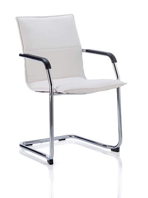Echo Cantilever Chair White Soft Bonded Leather With Arms