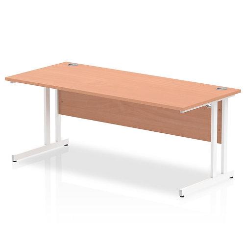 Impulse 1800/800 Rectangle White Cantilever Leg Desk Beech