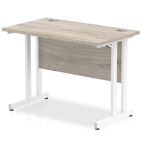 Impulse 1000/600 Rectangle White Cantilever Leg Desk Grey Oak
