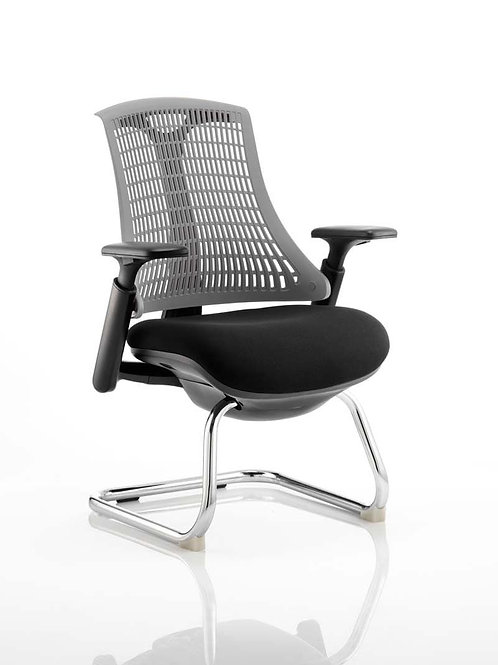 Flex Visitor Cantilever Chair Black Fabric Seat With Grey