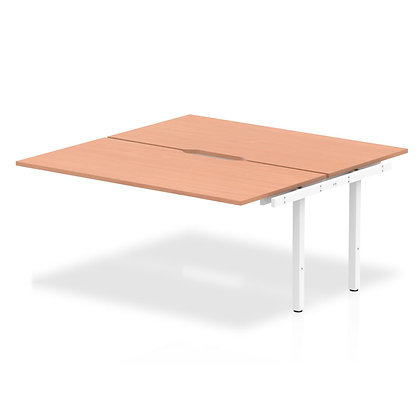B2B Ext Kit White Frame Bench Desk 1600 Beech