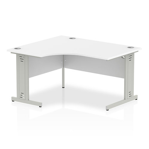 Impulse 1400 Left Hand Silver Crescent Cable Managed Leg Desk White