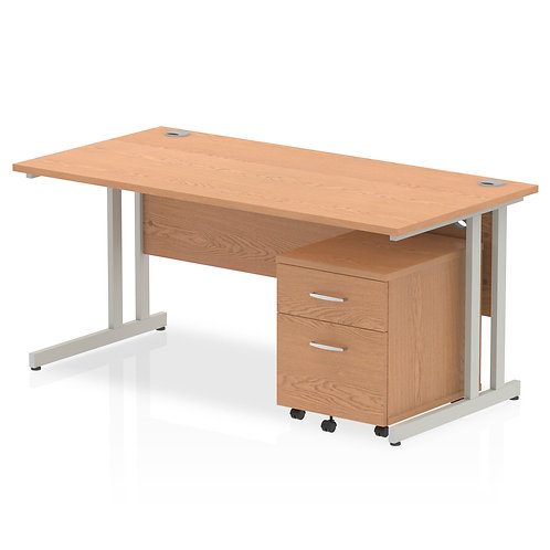 Impulse 1600 x 800mm Straight Desk Oak Top Silver Cantilever Leg Pedestal Bundle