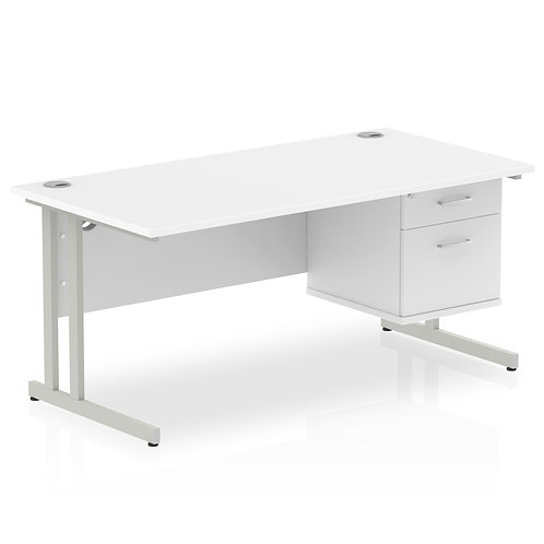 Impulse 1600 Rectangle Silver Cant Leg Desk White 1 x 2 Drawer Fixed Ped