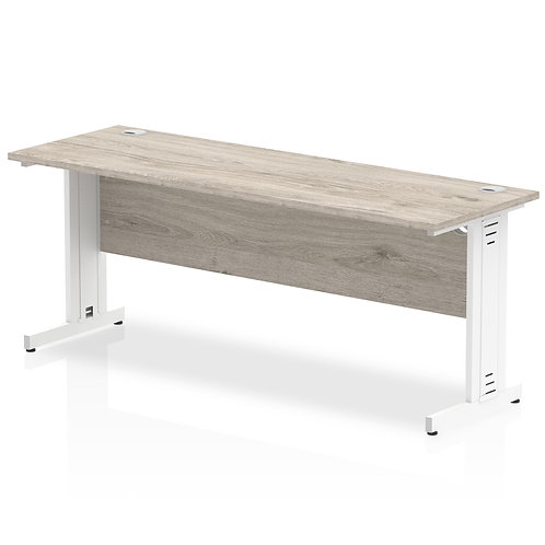 Impulse 1800/600 Rectangle White Cable Managed Leg Desk Grey Oak