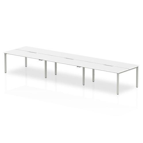 B2B Silver Frame Bench Desk 1200 White (6 Pod)