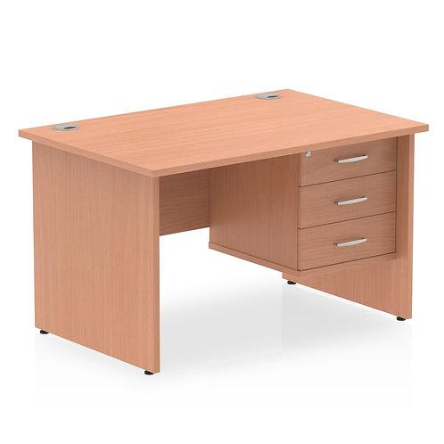 Impulse 1200 Rectangle Panel End Leg Desk Beech 1 x 3 Drawer Fixed Ped