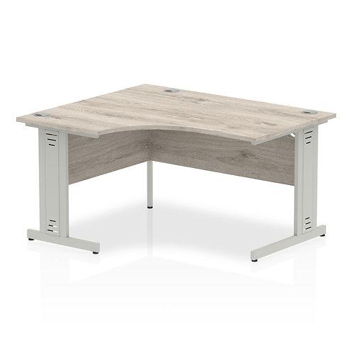 Impulse 1400 Left Hand Silver Crescent Cable Managed Leg Desk Grey Oak