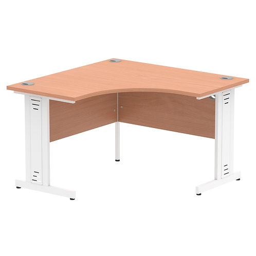 Impulse 1200 Corner Desk Silver Cantilever Leg Desk Oak