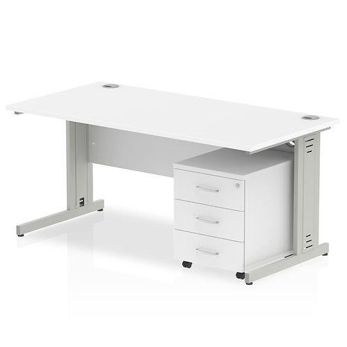 Impulse 1200 x 800mm Straight Desk White Top Pedestal Bundle