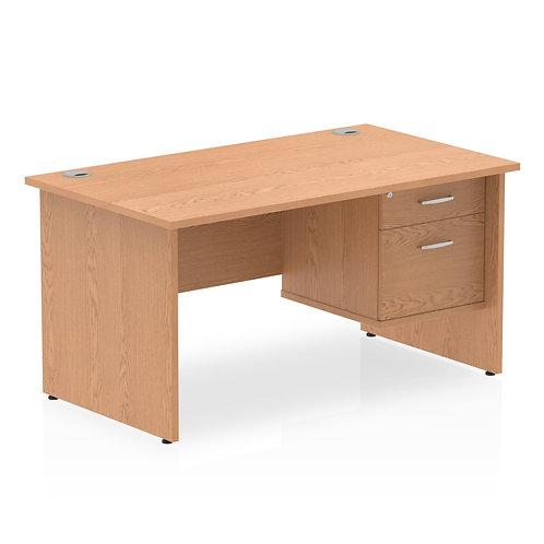 Impulse 1400 Rectangle Panel End Leg Desk Oak 1 x 2 Drawer Fixed Ped