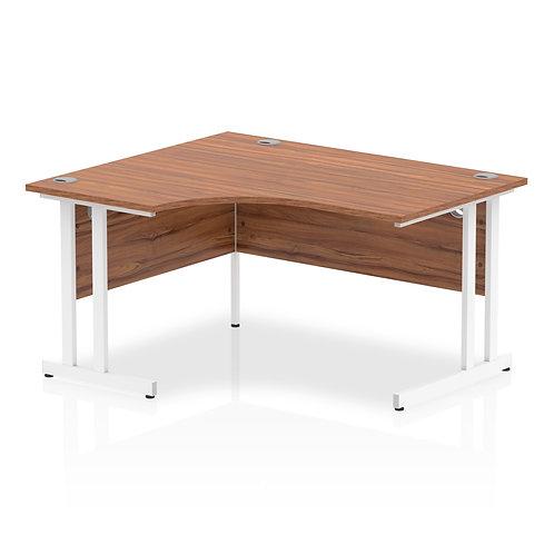 Impulse 1400 Left Hand White Crescent Cantilever Leg Desk Walnut