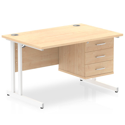 Impulse 1200 Rectangle White Cant Leg Desk Maple 1 x 3 Drawer Fixed Ped