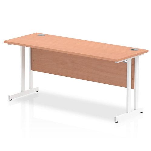 Impulse 1600/600 Rectangle White Cantilever Leg Desk Beech