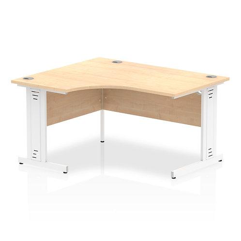 Impulse 1400 Left Hand White Crescent Cable Managed Leg Desk Maple