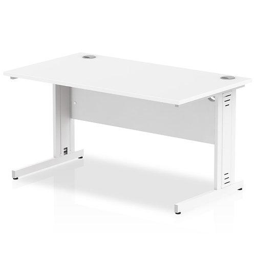 Impulse 1400/800 Rectangle White Cable Managed Leg Desk White
