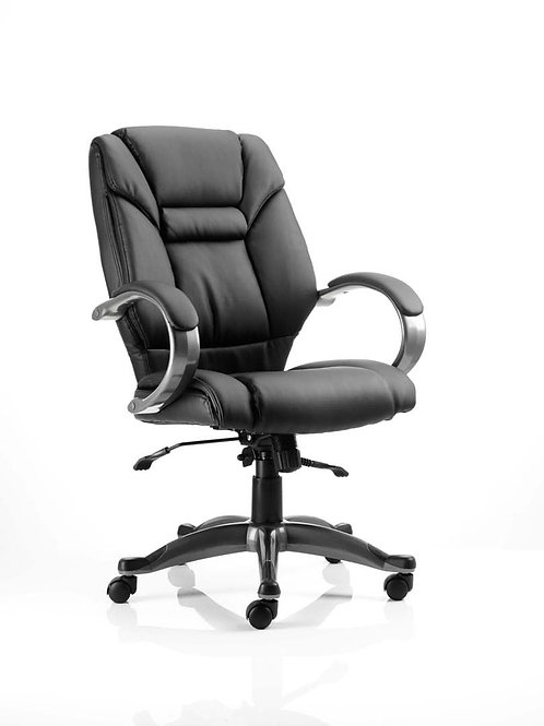 Galloway Executive Chair Black Leather With Arms