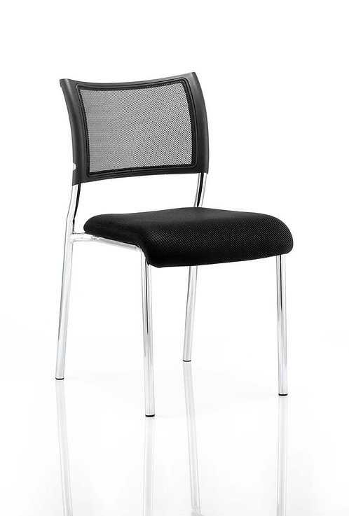 Brunswick Visitor Chair Black Fabric Without Arms Chrome Frame