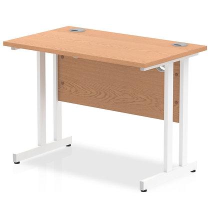 Impulse 1000/600 Rectangle White Cantilever Leg Desk Oak